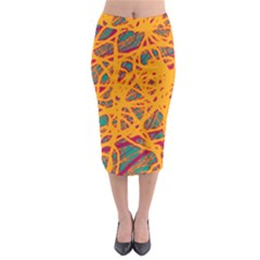 Orange Neon Chaos Midi Pencil Skirt by Valentinaart