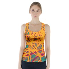 Orange Neon Chaos Racer Back Sports Top by Valentinaart