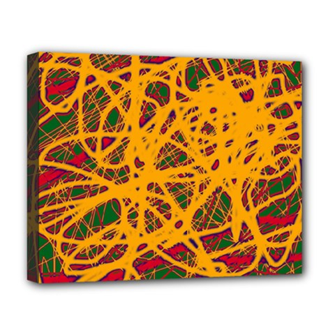 Yellow Neon Chaos Deluxe Canvas 20  X 16   by Valentinaart