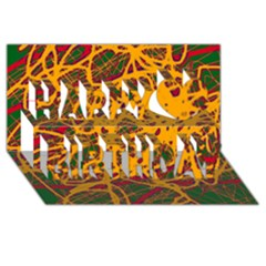 Yellow Neon Chaos Happy Birthday 3d Greeting Card (8x4) by Valentinaart