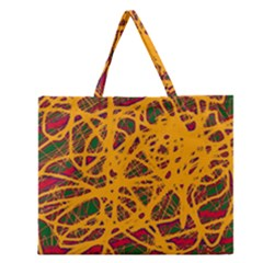 Yellow Neon Chaos Zipper Large Tote Bag by Valentinaart