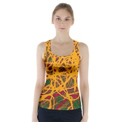 Yellow Neon Chaos Racer Back Sports Top by Valentinaart