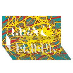 Yellow Neon Best Friends 3d Greeting Card (8x4) by Valentinaart