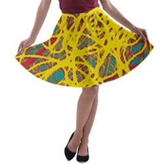 Yellow Neon A Line Skater Skirt by Valentinaart