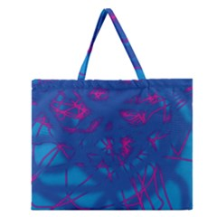 Deep Blue Zipper Large Tote Bag by Valentinaart
