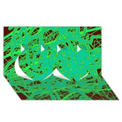 Green Neon Twin Hearts 3d Greeting Card (8x4) by Valentinaart