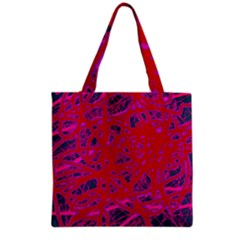 Red Neon Grocery Tote Bag by Valentinaart