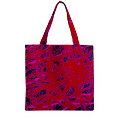 Red Neon Zipper Grocery Tote Bag by Valentinaart