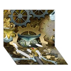 Steampunk, Awesome Owls With Clocks And Gears Love Bottom 3d Greeting Card (7x5) by FantasyWorld7