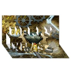 Steampunk, Awesome Owls With Clocks And Gears Merry Xmas 3d Greeting Card (8x4) by FantasyWorld7
