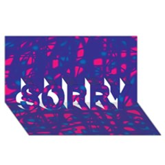 Blue And Pink Neon Sorry 3d Greeting Card (8x4)
