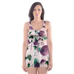 Spiral Eucalyptus Leaves Skater Dress Swimsuit by DanaeStudio