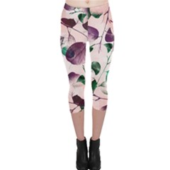 Spiral Eucalyptus Leaves Capri Leggings  by DanaeStudio