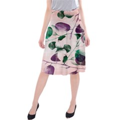 Spiral Eucalyptus Leaves Midi Beach Skirt by DanaeStudio