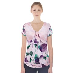 Spiral Eucalyptus Leaves Short Sleeve Front Detail Top