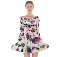 Spiral Eucalyptus Leaves Long Sleeve Skater Dress by DanaeStudio