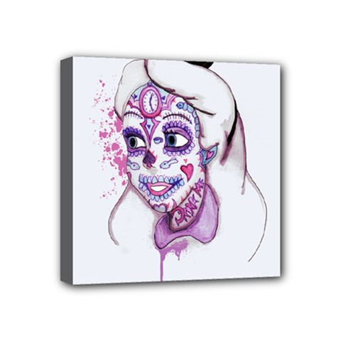 Alice Sugar Skull Mini Canvas 4  X 4  by lvbart