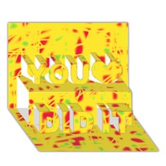 Yellow And Red You Did It 3d Greeting Card (7x5) by Valentinaart