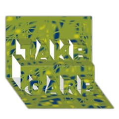 Green And Blue Take Care 3d Greeting Card (7x5)