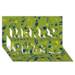 Green And Blue Merry Xmas 3d Greeting Card (8x4) by Valentinaart