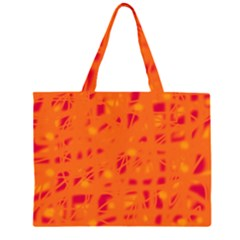 Orange Zipper Large Tote Bag by Valentinaart