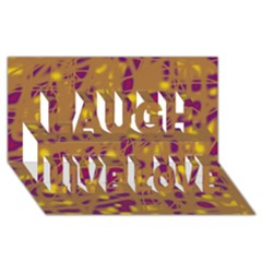 Brown And Purple Laugh Live Love 3d Greeting Card (8x4)