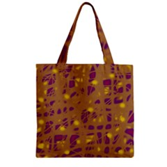 Brown And Purple Zipper Grocery Tote Bag by Valentinaart