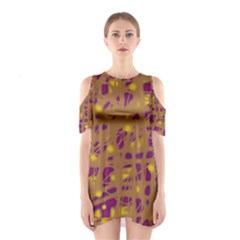 Brown And Purple Cutout Shoulder Dress
