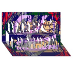 Abstract High Art By Moma Happy Birthday 3d Greeting Card (8x4) by Valentinaart