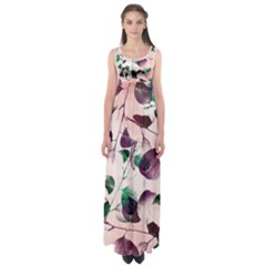 Spiral Eucalyptus Leaves Empire Waist Maxi Dress by DanaeStudio