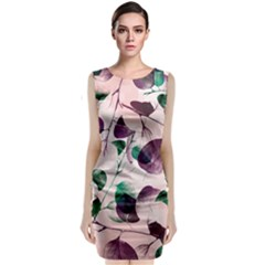 Spiral Eucalyptus Leaves Classic Sleeveless Midi Dress by DanaeStudio