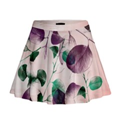 Spiral Eucalyptus Leaves Mini Flare Skirt by DanaeStudio