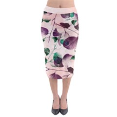 Spiral Eucalyptus Leaves Midi Pencil Skirt by DanaeStudio