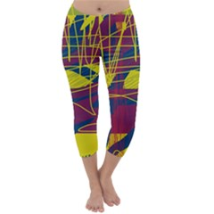 Yellow High Art Abstraction Capri Winter Leggings  by Valentinaart