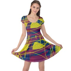 Yellow High Art Abstraction Cap Sleeve Dresses by Valentinaart