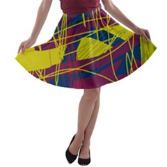 Yellow High Art Abstraction A Line Skater Skirt by Valentinaart
