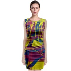 Yellow High Art Abstraction Classic Sleeveless Midi Dress by Valentinaart