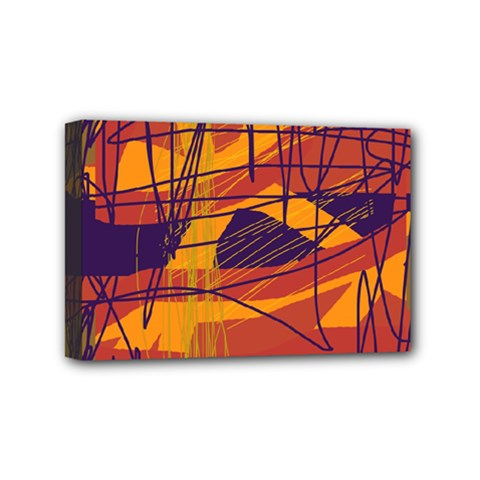 Orange High Art Mini Canvas 6  X 4  by Valentinaart