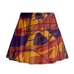 Orange High Art Mini Flare Skirt