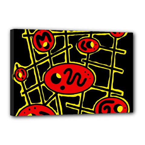 Red And Yellow Hot Design Canvas 18  X 12  by Valentinaart