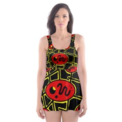 Red And Yellow Hot Design Skater Dress Swimsuit by Valentinaart