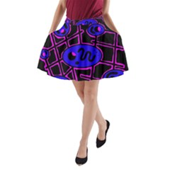 Blue And Magenta Abstraction A Line Pocket Skirt by Valentinaart