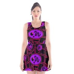 Purple And Red Abstraction Scoop Neck Skater Dress by Valentinaart
