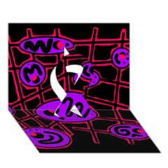 Purple And Red Abstraction Ribbon 3d Greeting Card (7x5) by Valentinaart