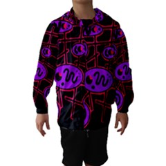 Purple And Red Abstraction Hooded Wind Breaker (kids)