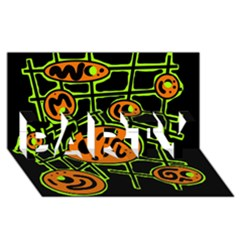 Orange And Green Abstraction Party 3d Greeting Card (8x4) by Valentinaart