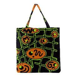 Orange And Green Abstraction Grocery Tote Bag by Valentinaart