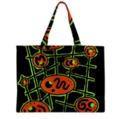 Orange And Green Abstraction Zipper Mini Tote Bag by Valentinaart