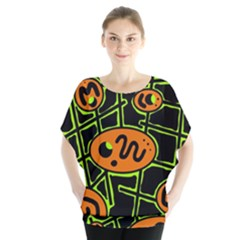 Orange And Green Abstraction Blouse by Valentinaart