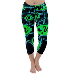 Green And Blue Abstraction Capri Winter Leggings  by Valentinaart